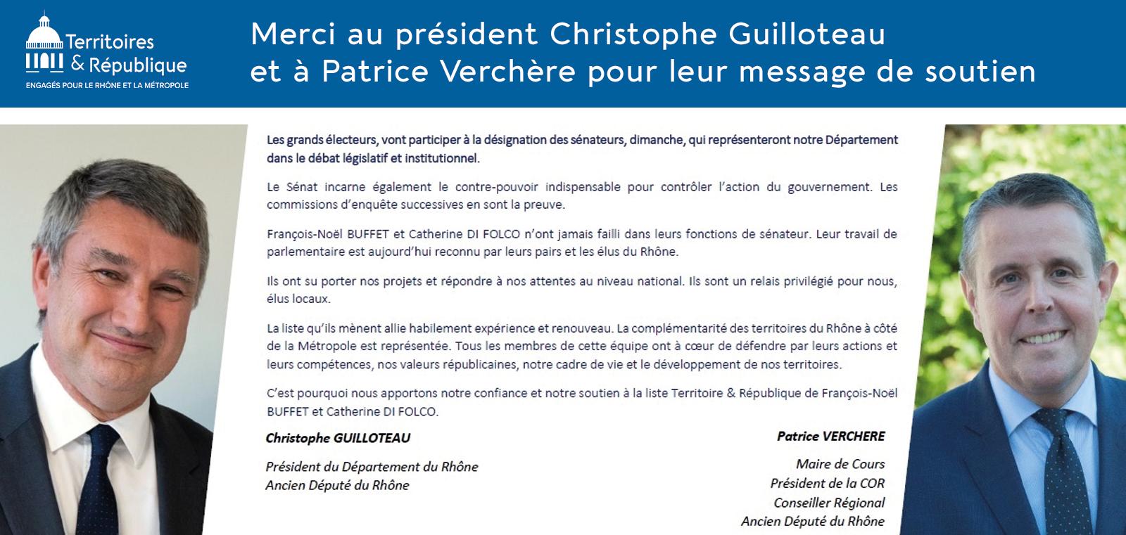 Soutien de christophe guilloteau et Patrice Verchère